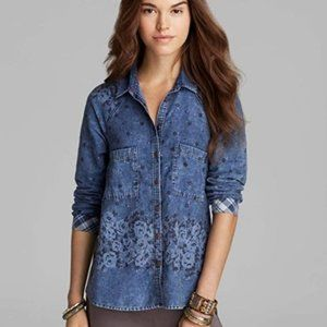 Free People Floral Denim Button Down